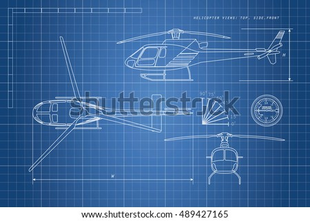 Engineering drawing helicopter on a blue background. Three views: top, side, front. Vector illustration
