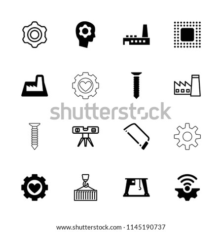 Engineering icon. collection of 16 engineering filled and outline icons such as hacksaw, cargo crane, factory, chip. editable engineering icons for web and mobile.