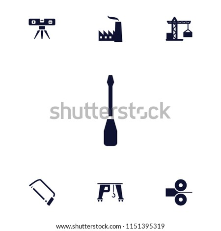 Engineering icon. collection of 7 engineering filled icons such as construction crane, hacksaw, level ruler, paper press. editable engineering icons for web and mobile.