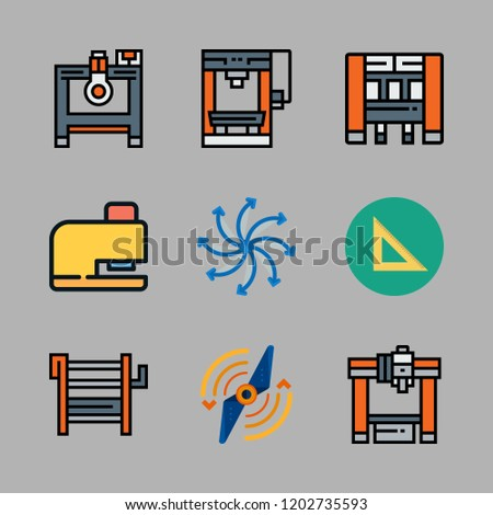 engineering icon set. vector set about set square, airscrew, industrial robot and drilling icons set.