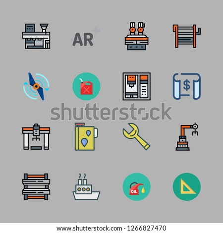 engineering icon set. vector set about set square, augmented reality, industrial robot and oil platform icons set.