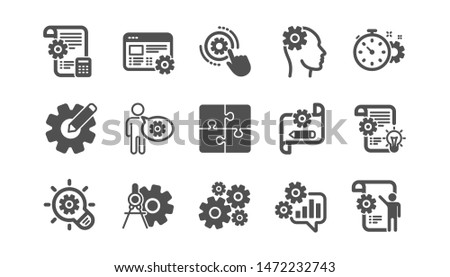 Engineering icons. Puzzle, Dividers tool and Architect plan. Engineer classic icon set. Quality set. Vector