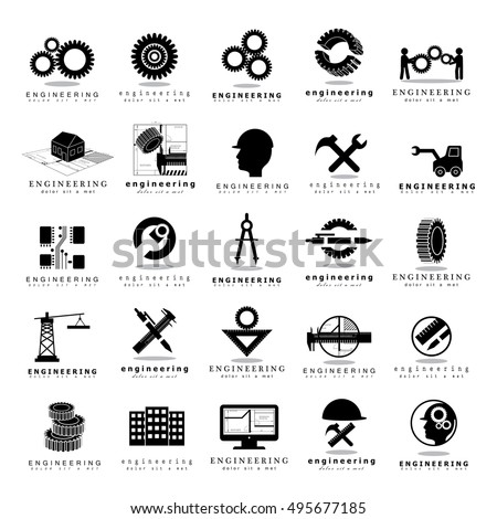 Engineering Icons Set - Isolated On White Background - Vector Illustration, Graphic Design. For Web, Websites, Print, Presentation Templates, App, Mobile Applications And Promotional Materials