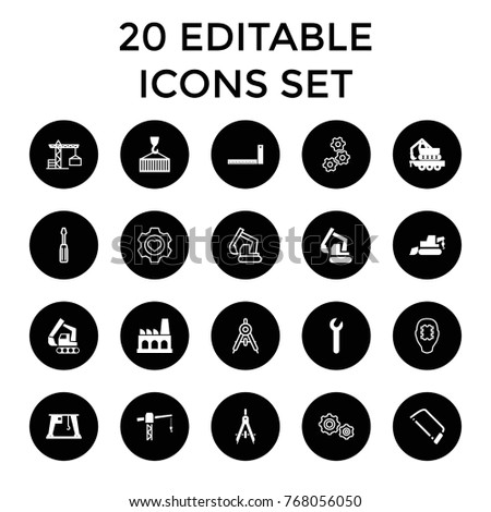Engineering icons. set of 20 editable filled and outline engineering icons such as construction crane, excavator, hacksaw, cargo crane, cargo on hook, factory, wrench, compass