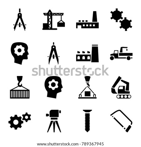 Engineering icons. set of 16 editable filled engineering icons such as construction crane, gear in head, gear, hacksaw, cargo on hook, factory, compass, screw, excavator