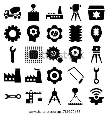 Engineering icons. set of 25 editable filled engineering icons such as gear, compass, factory, gear in head, wrench, concrete mixer, hook with cargo, theodolite, hacksaw