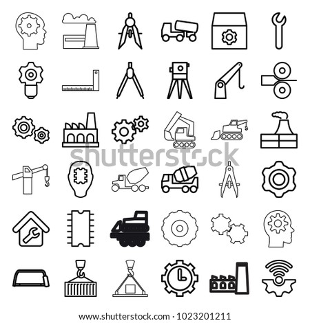 Engineering icons. set of 36 editable outline engineering icons such as factory, gear, concrete mixer, theodolite, hacksaw, compass, gear keyhole, cpu in head, cargo on hook