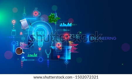Engineering idea concept. Electronic devices development. Technology creation and design industrial sample. Engineer invents, devises technician solution. Equipments, tools of developer. Banner.