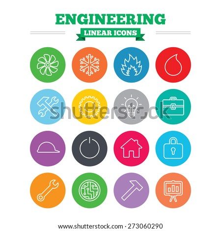 engineering linear icons set