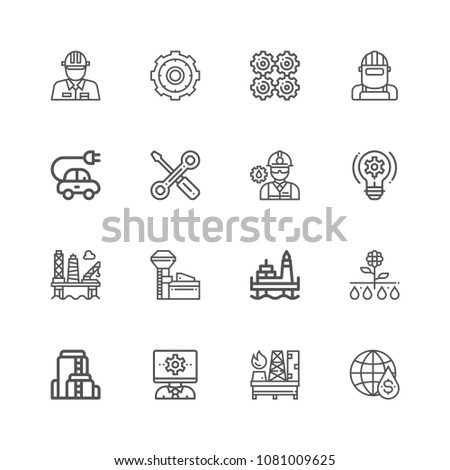 Engineering. Set of outline vector icons. Contains such Icons as Manufacturing, Engineer, Production, Settings and more. #1081009625