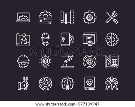 Engineering. Set of outline vector icons. Includes such as Manufacturing, Engineer, Tool, Production, Settings and other.