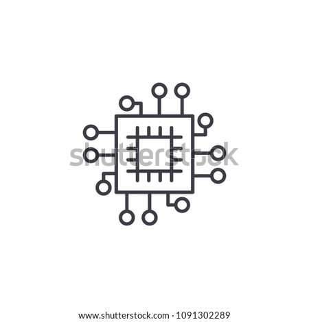 Engineering system linear icon concept. Engineering system line vector sign, symbol, illustration.