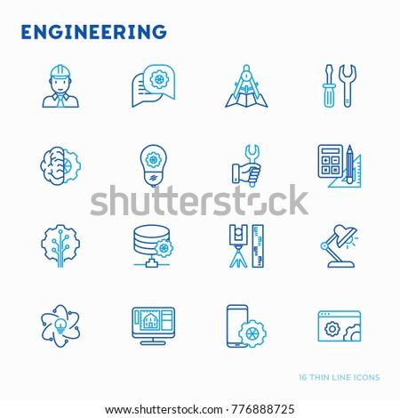 Engineering thin line icons: engineer, electrinocs, calculations, tools, repair, idea, it server. Modern vector illustration.