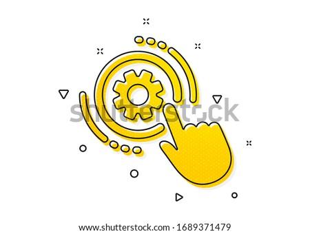 Engineering tool sign. Cogwheel settings icon. Cog gear symbol. Yellow circles pattern. Classic cogwheel settings icon. Geometric elements. Vector