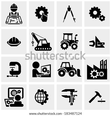 Engineering vector icons set on gray