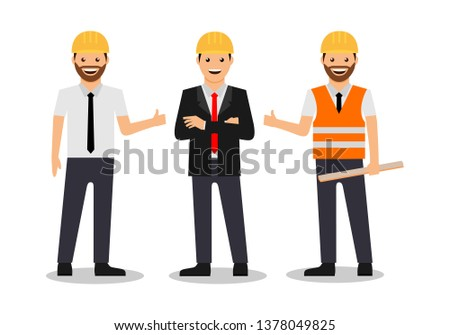 Engineers and architects vector illustration. Construction worker character. Construction workers team. contractor