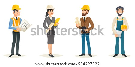 Engineers cartoon set with civil engineering construction workers architect and surveyor isolated vector illustration