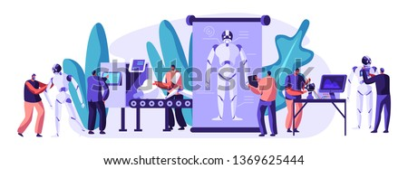Engineers Characters Making and Programming Robots. Robotics Hardware and Software Engineering in Laboratory with Hi-Tech Equipment. Artificial Intelligence Technology Cartoon Flat Vector Illustration #1369625444