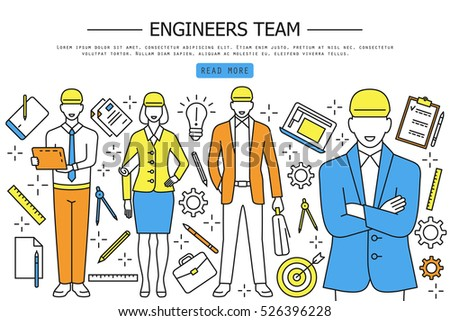 Engineers Team, Linear Style Web Banner, Vector Illustration. Civil Engineer,  Construction Workers  Civil Engineer