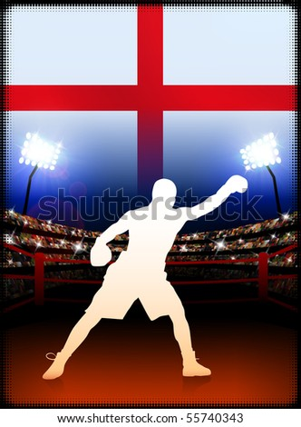 England Boxing Event with Stadium Background and Flag Original Illustration