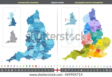 england counties vector map