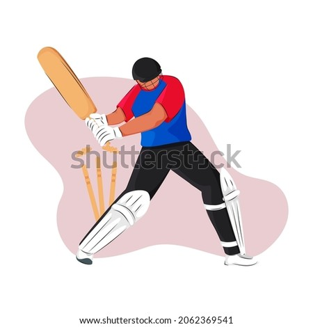 England Cricket Batter Losing His Wicket On Abstract Background.