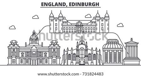 England, Edinburgh architecture line skyline illustration. Linear vector cityscape with famous landmarks, city sights, design icons. Landscape wtih editable strokes