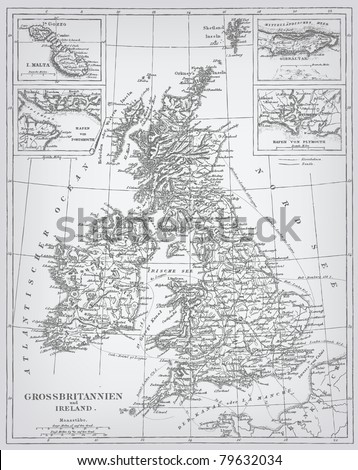 England, engraving vector map from