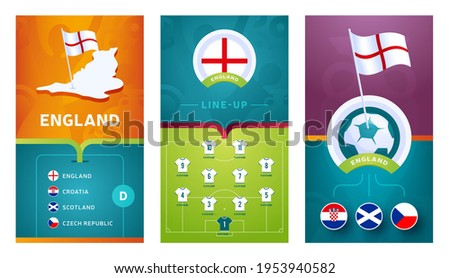 england European 2020 football vertical banner set for social media. euro 2020 England group D banner with isometric map, pin flag, match schedule and line-up on soccer field