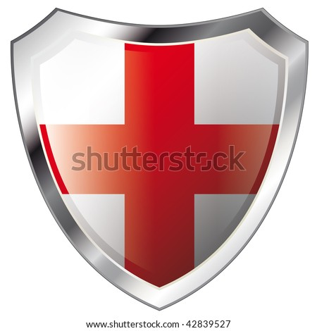 england flag on metal shiny shield vector illustration. Collection of flags on shield against white background. Abstract isolated object.