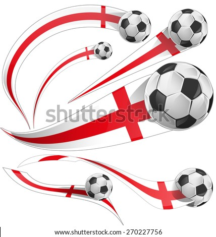 england  flag set with soccer