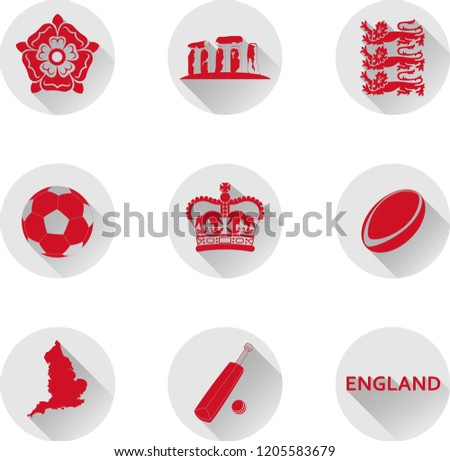 england flat icon set vector
