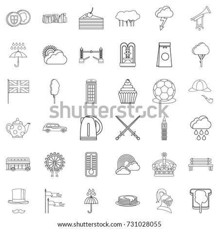 england icons set outline