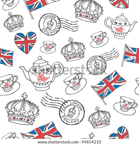 England London drawing seamless vector