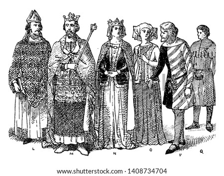 England Nobles Fourteenth Century Fashion where a king with his nobles and bishop wearing embellished clothing typical during the Medieval Ages, vintage line drawing or engraving illustration.