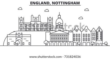 England, Nottingham architecture line skyline illustration. Linear vector cityscape with famous landmarks, city sights, design icons. Landscape wtih editable strokes