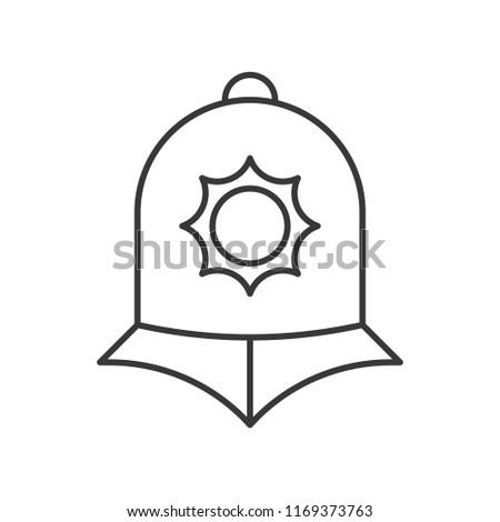 England police helmet, police related outline icon editable stroke