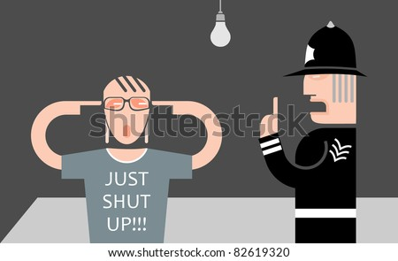 England policeman and teenager - vector illustration. Police is explaining something to a young man, but he refuses to listen to him. Generational conflict