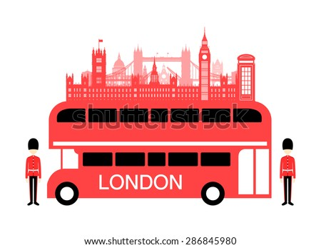 england travel bus vector and