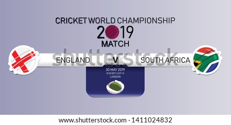 England vs South Africa, 2019 Cricket World Championship, Vector illustration