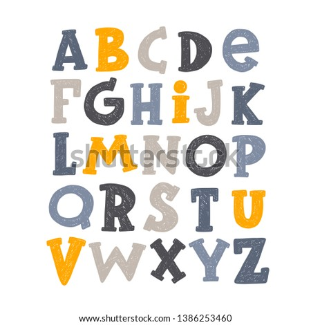 English alphabet. ABC capital letter. Hand-lettering vector illustration for banner, posters, scrapbooking, school projects, decoration. Education for learning children, kindergarten, preschool