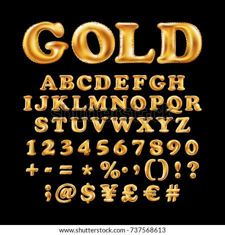 English alphabet and numerals from yellow Gold balloons on a black background. holidays and education art