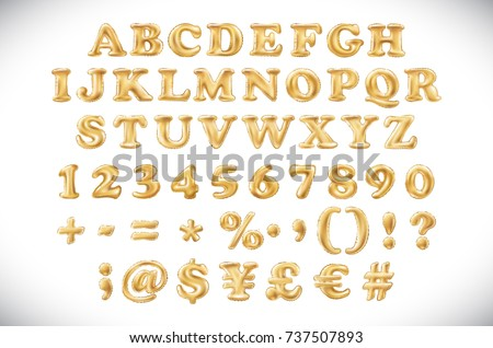 English alphabet and numerals from yellow Golden balloons on a white background. holidays and education art