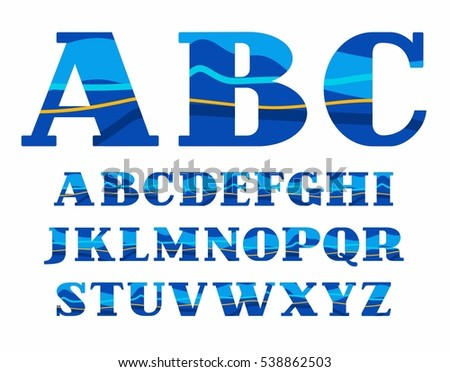English alphabet, Aqua, vector font, capital letters. Vector colorful letters with serifs. Blue and yellow wave on blue background. Sea waves simulation.   #538862503