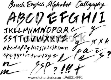 english alphabet calligraphy text font brush hand write black letter
