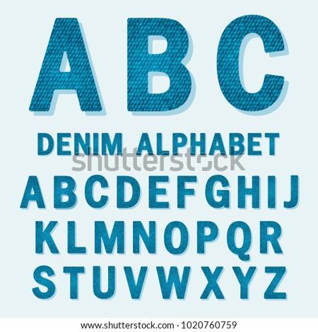 English alphabet, capital letters of denim texture #1020760759