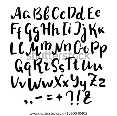 English alphabet handwritten vector script on white background. Brush pen type. Informal handwriting Handwritten font with uppercase and lowercase letter and punctuation. Handdrawn hipster lettering