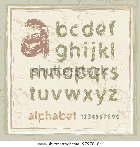 English alphabet in grunge style