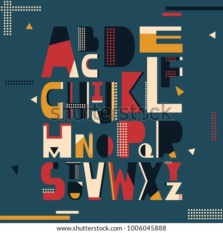 English alphabet vector, typography design. Background with set of decorative latin letters. Poster with colorful latin abc made in modern style. Clean font, flat line style. Trendy capital letters