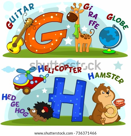 english alphabet with letters g